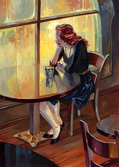 Gouache painting by Kai Carpenter / Coffee Art / Coffee Shop Stuff Art And Illustration, Illustration Pictures, People Illustration, September In The Rain, Redhead Art, Concept Art World, Cafe Art, Gouache Painting, Oil Paintings