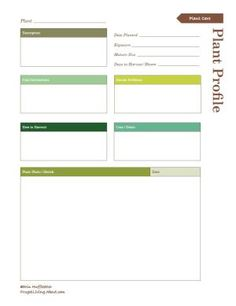 Use this free, printable garden notebook to organize all of your garden plans and records.: Plant Profile Printable