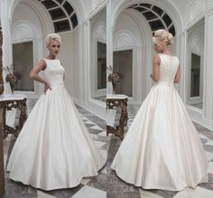2016 New Wedding Dresses Floor Length White Ivory Smooth Satin Sleeveless Back With Covered Button,Vintage Style Bridal Gown Vestido De Noiva Long Wedding Gowns