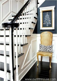Wainscoting. Trim And Black Stair Treads. So Pretty!