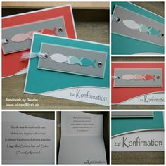 Ichthys, Punch Art, First Communion, Masculine Cards, Stamping Up, Stampin Up Cards, Diy Cards, Christening, Sewing Crafts