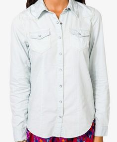 Faded Chambray Shirt | FOREVER 21 - 2021727073
