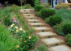 Garden Landscaping Ideas Railroad Ties : Landscaping Ideas With . Railroad Ties Landscaping, Hillside Landscaping, Outdoor Landscaping, Front Yard Landscaping, Outdoor Gardens, Landscaping Ideas, Landscape Stairs, Landscape Timbers, Landscape Design