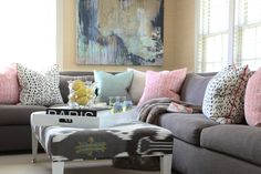 #sectional Photography: Sarah Winchester - sarahwinchester.wordpress.com Read More: http://www.stylemepretty.com/living/2014/02/24/traditional-home-tour/