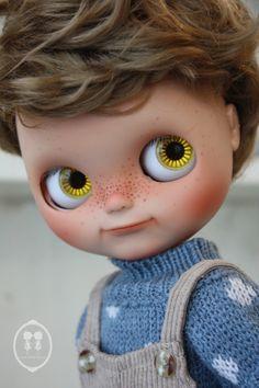 "Description.  OOAK Custom Blythe Doll for Adoption : Chubby Boy Romeo. Custom by : Little Dolls Room* Base model : Factory Blythe Tan Skin RBL. Hair: Wig  Body : Disney Doll 12"" Tan Skin."