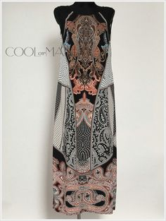 Long Sleeveless Silk Dress  Etro Milano Silk Fabric by COOLorMANIA