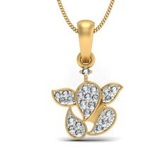 An absolutely delightful and cute Ganesha diamond pendant that has diamond studded all over it it. These numerous diamond studded in pave setting look mesmerizing and make this pendant appear prettier than anything else.