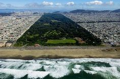 Golden Gate Park Arial View. Looks like good waves at Ocean Beach too ;)