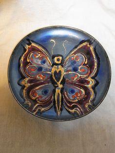 Mid Century 60´s Enamal Wall Plate Butterfly ø  12 1/2  #CG