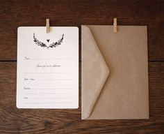 Black Wreath fill-in Invitation by An April Idea