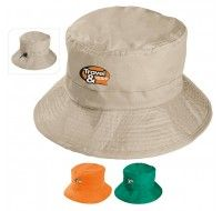 An easy fit beach style hat comes in three colors and folds up inside the interior pocket is an awesome way to show off your personal party favor artwork!
