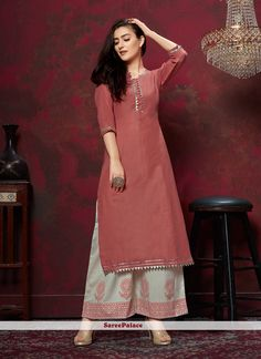 Style and trend will be at the peak of your beauty when you attire this red cotton party wear kurti. This attire is beautifully adorned with fancy work. Kurta Designs Women, Kurti Neck Designs, Dress Neck Designs, Blouse Designs, Stylish Dresses For Girls, Simple Dresses, Indian Designer Outfits, Indian Outfits, Indian Gowns