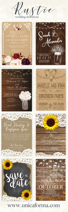 Rustic wedding invitations! Sunflower wedding invitations! Burlap and lace wood wedding. Mason jars and string lights. Rustic inspiration. Floral wedding invitation. Classic rustic. Outdoorsy wedding invitation by Unica Forma