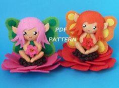 Patrón de costura de PDF para hacer un hada pequeña flor en fieltro