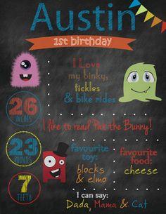 Items similar to Digital File Chalkboard Birthday Stats Monsters on Etsy Birthday Love, Flag Banners, Binky, Elmo, Baby Room, Creative Design, Chalkboard, Monsters, Wedding Invitations