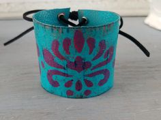 Hey, I found this really awesome Etsy listing at https://www.etsy.com/listing/526178954/leather-cuff-bracelet-painted-leather