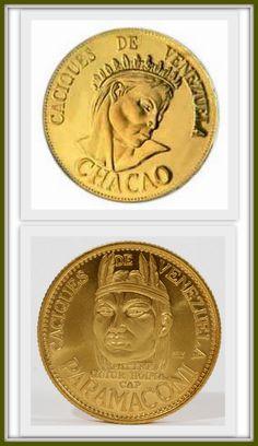 Monedas de oro de Los Caciques venezolanos Chacao y Paramaconi