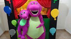 Barney e seus amigos, temos os personagens vivos e também teatro de fantoches, saiba mais, 11 99807 0605