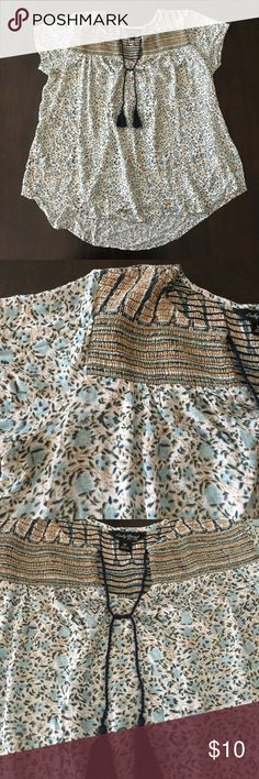 Lucky Brand Boho Tassel Top Lucky Brand blue and yellow floral boho top with navy tassels. In excellent condition, worn once. Lucky Brand Tops