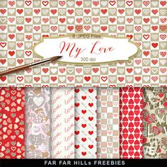 FREE New Freebies Romantic Kit - My Love:Far Far Hill - Free database of digital illustrations and papers