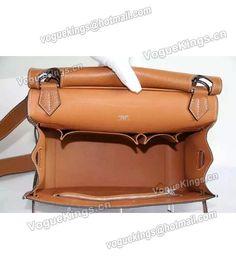 Replica Hermes Jypsiere Leather Shoulder Bag Earth Yellow 6010 HS6010 - Voguekingbag.cn