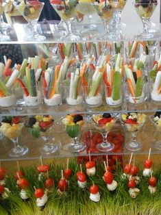 Two good ideas: Crudites in cups; tomato & mozzarella toothpicks