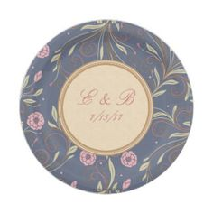 Paper Plates Elegant Blue and  Pink Floral Pattern 7 Inch Paper Plate