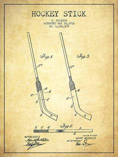 Hockey Poster featuring the drawing Hockey Stick Patent Drawing From 1916 by…