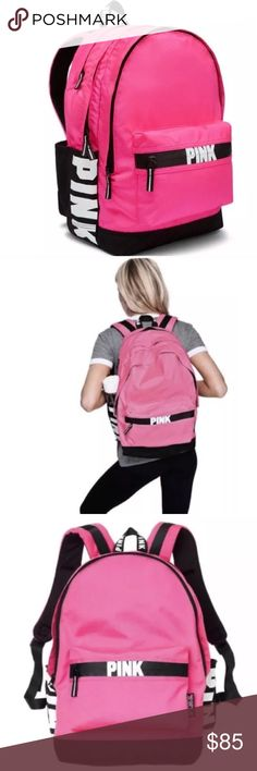 Vs LAST 1!  Product Details  VS VICTORIAS SECRET PINK CAMPUS BACKPACK TOTE BAG PINK ON FLEEK LIMITED EDITION! SOLD OUT! The one and only Campus Backpack! Durable and super cute, it's got plenty of pockets and tons of room to fit all your campus essentials.  PRICE FIRM  Comfy padded straps with mesh overlay for breathability   Zippered padded laptop sleeve fits 17'' laptop   Exterior zip pocket   Internal mesh pocket  18in x12in  Velcro closure side pockets  Note: Water shown in photo not…