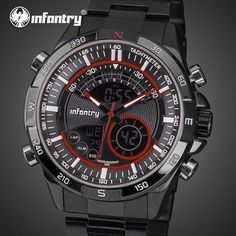 Sports Watches LED Display Stainless Steel Aviator Wristwatches