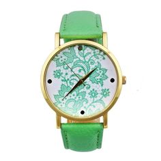 Women Fashion Quartz Wrist Watch Lace Flower Printed Leather Band Ladies Casual Analog Women's Watches montre femme reloj New