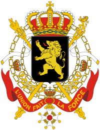 """Coat of Arms of Belgium: Composed of a golden lion against a black shield, with the royal crown resting on top.  The motto """"L'Union Fait La Force"""" (Unity Makes Strength) on a ribbon below. Crossed sceptres are behind the shield."""