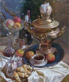 Still Life with Samovar - Alexander Levchenko Russian Painting, Russian Art, Life Paint, Academic Art, Food Painting, Retro Recipes, Tea Art, Food Drawing, Painted Pots