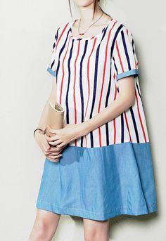 Striped patchwork plus size cotton sundress oversize linen shift dresses