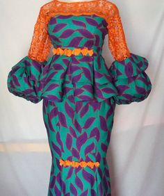 Check out 40 latest peplum skirt and blouse styles - Stylish Naija African Maxi Dresses, Latest African Fashion Dresses, African Dresses For Women, African Print Fashion, African Attire, African Women, Africa Fashion, African Prints, African Lace Styles