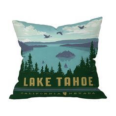 Bring a touch of Tahoe's serene scenery to your suburban or city home with this darling design. Boasting a stunning, retro-inspired drawing of the Nevada and California oasis, this Tahoe Lake View Thro...  Find the Tahoe Lake View Throw Pillow, as seen in the The Great Indoors  Collection at http://dotandbo.com/collections/2015-trends-the-great-indoors?utm_source=pinterest&utm_medium=organic&db_sku=112146