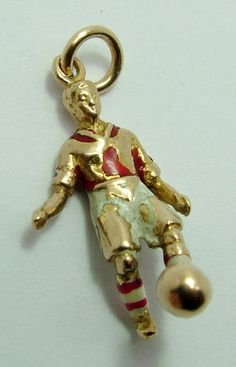 1958 - Solid 9ct Gold Enamel Painted Footballer Charm - hallmarked for London 1958