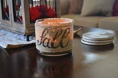 Burlap Candle Wrap..use Jar Candle (on sale now), burlap and a sharpie to create this look  http://www.partylite.biz/sites/suemarch/productcatalog?page=productgroup=51097=57902=true