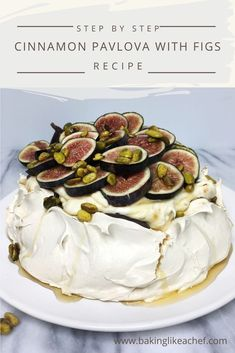 Cinnamon Pavlova is a stunning meringue dessert combined with the praline cream and decorated with fresh figs. It is a perfect cake for a special occasion! Fig Recipes, Gourmet Recipes, Cake Recipes, Dessert Recipes, Australian Desserts, Cinnamon Desserts, Meringue Desserts, Pavlova Recipe, Desert Recipes