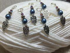 6 Snag Free Blue Owl Stitch Markers