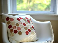 Modern Hand Craft - hexie pillow - I like that you don't have to make thousands of hexagons to make an impact
