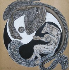 White wolf and black dragon circling each other in the yin yang symbol. Description from moonlight-the-wolf.deviantart.com. I searched for this on bing.com/images