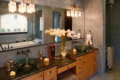 Love everything but countertop and cabinet choice.  LOVE the walls covered in tile.