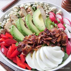 Cobb Salad is the KING of salads. Have it for lunch or dinner or serve it as a side. It's easy to prepare, 5 net carbs, gluten-free, and perfect for any low carb keto diet.