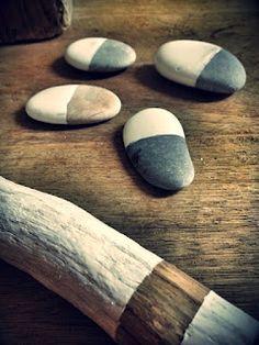 painted pebbles . via Méchant Design