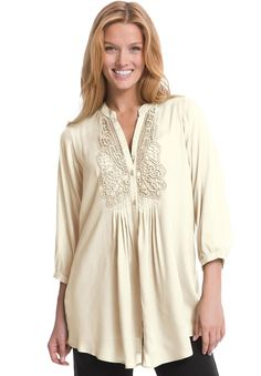 Plus Size Tunic, with crochet trim and 3/4 sleeves