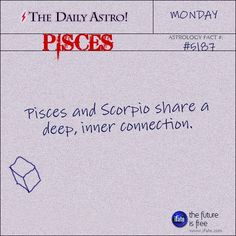 I'm a Pisces and my hubby's a Scorpio - we get along fantastically! ~if the moon sign lines up with the sun sign then yes Pisces And Scorpio Compatibility, Aquarius Pisces Cusp, Scorpio Zodiac Facts, Pisces Love, Astrology Pisces, Pisces Quotes, Pisces Woman, Zodiac Horoscope, Horoscopes