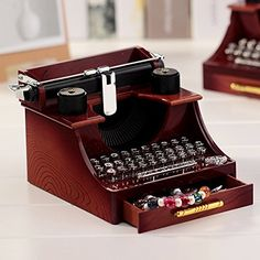 """Alytimes Vintage Typewriter Music Box, with a drawer to put small jewelry, and namecard holder. As music plays, treadle moves up and down just as it's typing something. 7x4.2x3.4"""""""