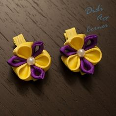 """Set of Two Dark Purple and Yellow Kanzashi Flowers with a Pearl in the Center For """"I Can Too"""" Foundation by DidiArtCorner, $10.99"""