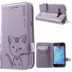 Galaxy J1 violetti kissa puhelinlompakko